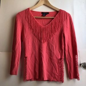 Coral Red 3/4 Sleeve Fringe Y2K Cutout Blouse Top